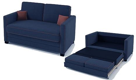 Boom, divano letto a 2 posti in tessuto, Blue Jeans / Orange, 140 x ...