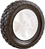 Shepherd Hardware 9613 8-Inch Semi-Pneumatic Rubber Replacement Tire, Plastic Wheel, 1-3/4-Inch Diamond Tread, 1/2-Inch Bore Offset Axle