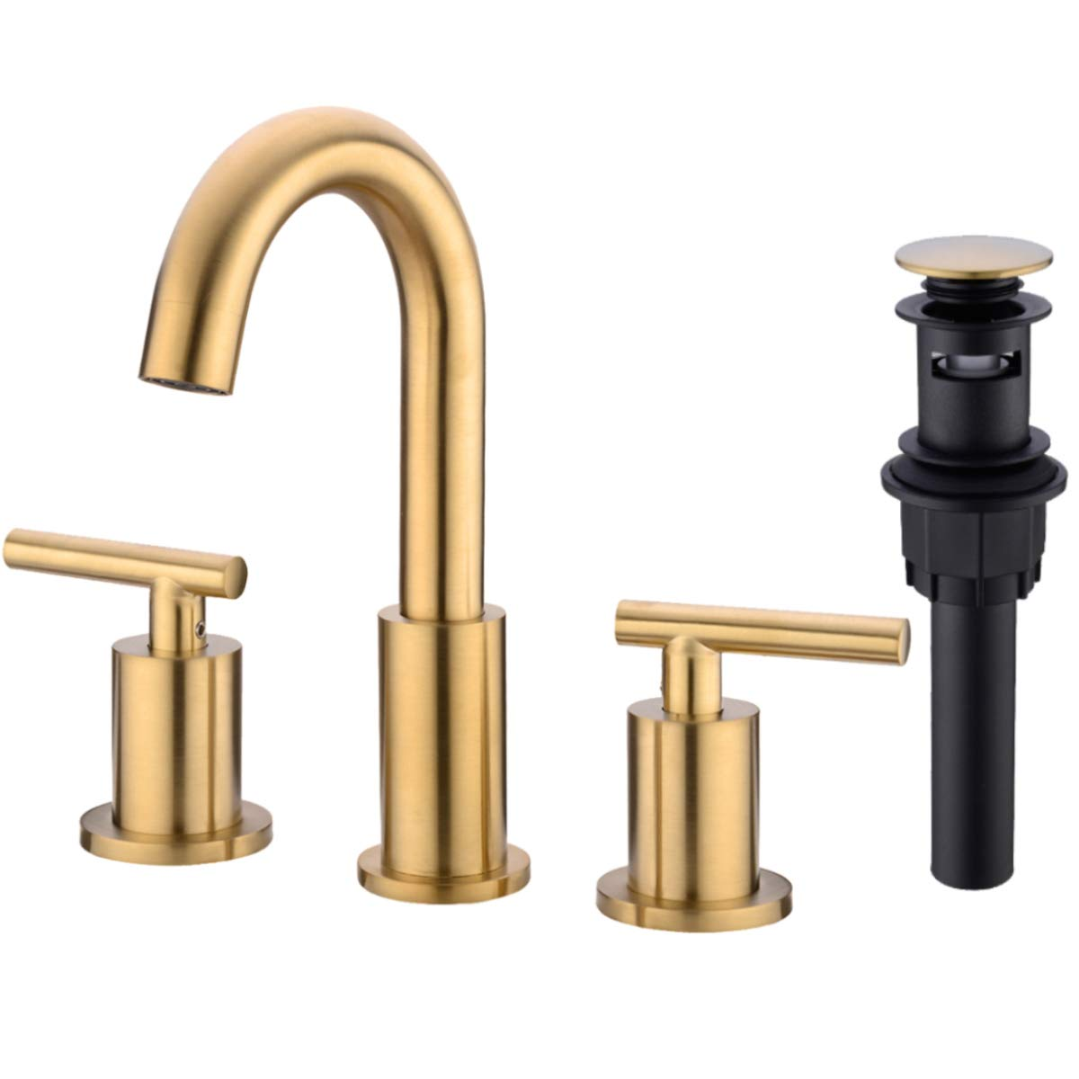 TRUSTMI 2 Handle 8 Inch Brass Bathroom Sink Faucet 3 Hole Widespread with Valve and cUPC Water Supply Hoses, with Overflow Pop Up Drain Assembly, Brushed Gold by TRUSTMI