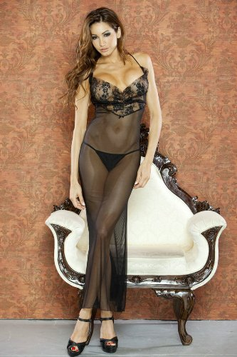 FANTASY SS0074 Naughty Black Lace Long Gown with Tie-up Back & G-string