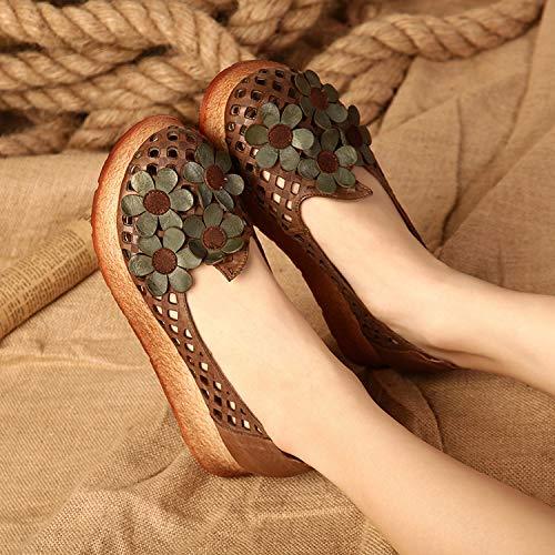 Plates Littéraires Sport En Xing Cuir Femmes Pour De Polyvalentes Nouvelles Chaussures Et Ajourées Guang brown Fleurs Confortables zwfqzv18