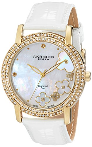 Akribos XXIV Women's AK580YG Lady Diamond Swiss Quartz Diamond Dial Leather Strap Watch