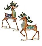 "Set of 2 Regal Peacock Reindeer Christmas Tea Light Candle Holders 13"""