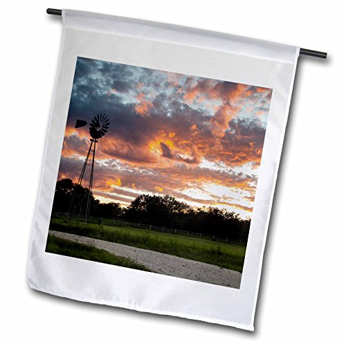 3dRose Danita Delimont - Sunsets - Clouds and windmill at sunset - 12 x 18 inch Garden Flag - County At Orange Block The