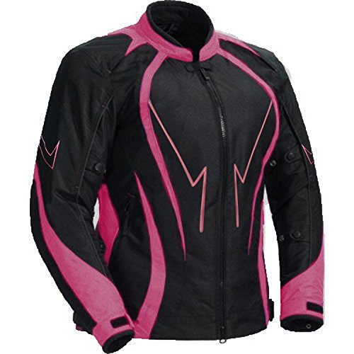 Juicy Trendz Motorcycle Motorbike Biker Cordura Waterproof Textile Jacket Pink (Jacket Biker Womens Textile)