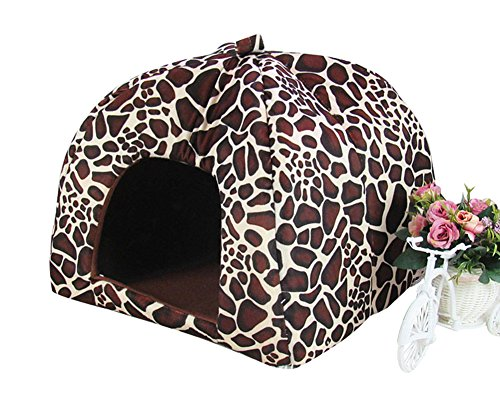Freerun Cute Soft Strawberry Small Cotton Soft Dog Cat Pet Bed House (Coffee, L)