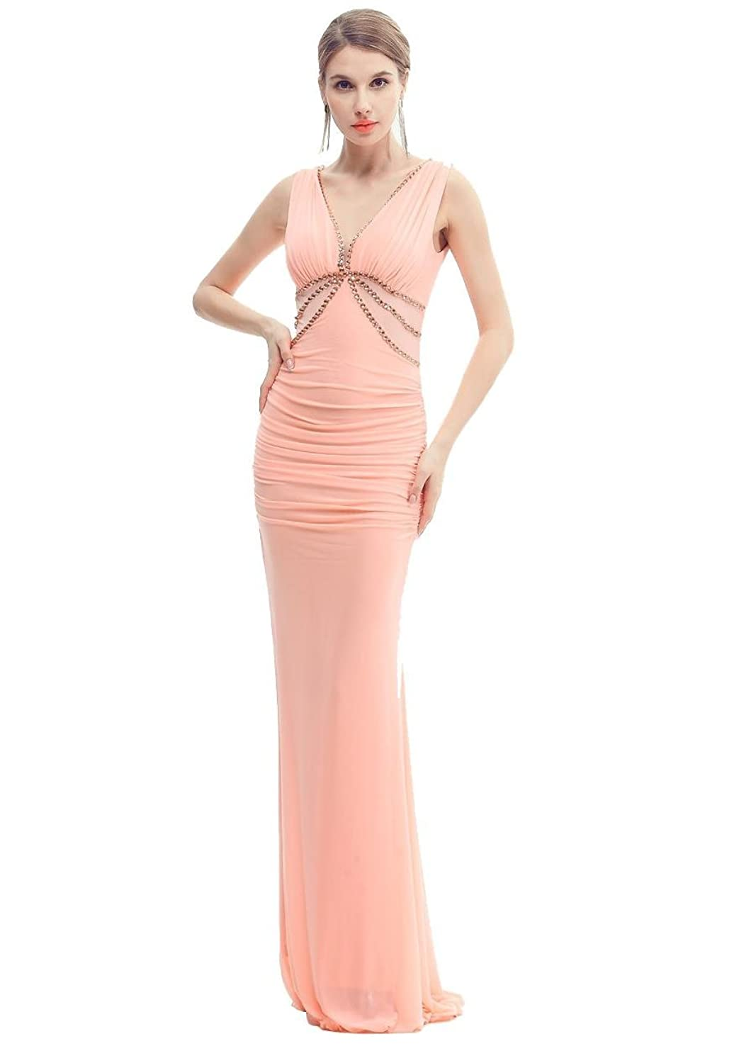 Beauty-Emily Mermaid Lace Ruched Long Deep V Backless Sleeveless Evening Dress