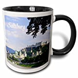 3dRose InspirationzStore Photography - Salzburg sunny river-side city photography - beautiful cities in Europe - Austria - Austrian towns - 11oz Two-Tone Black Mug (mug_155614_4)
