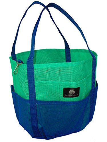 Saltwater Canvas Mesh Dolphin Bag, 7 pockets, Medium Beach Tote, gym, Green Navy