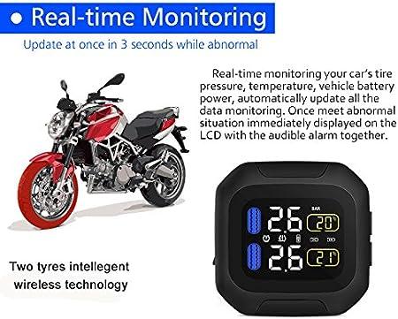 Motorrad Reifendruckkontrollsystem Tpms Wasserdicht Blitz Proof General Wireless Motorrad Usb Power Lcd Display Mit 2 Externen Sensor Auto