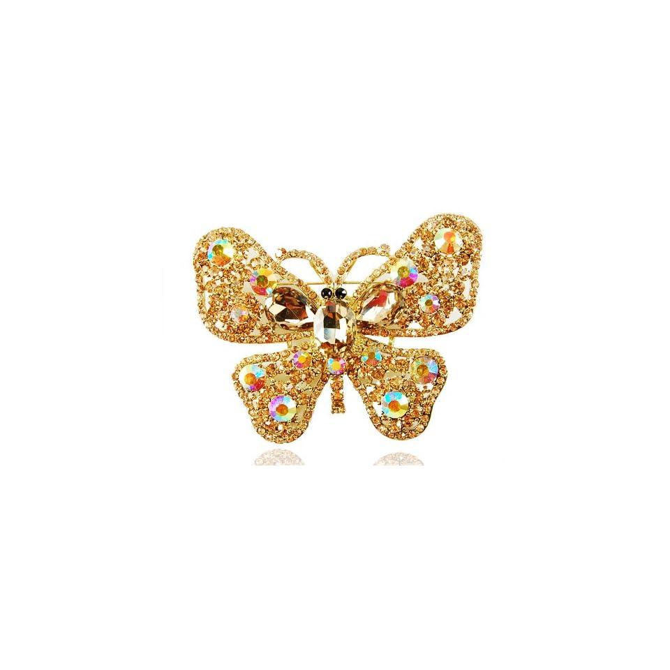 XL Brilliant Swarovski Element Jewelry Topaz Crystal Rhinestone Butterfly Brooch