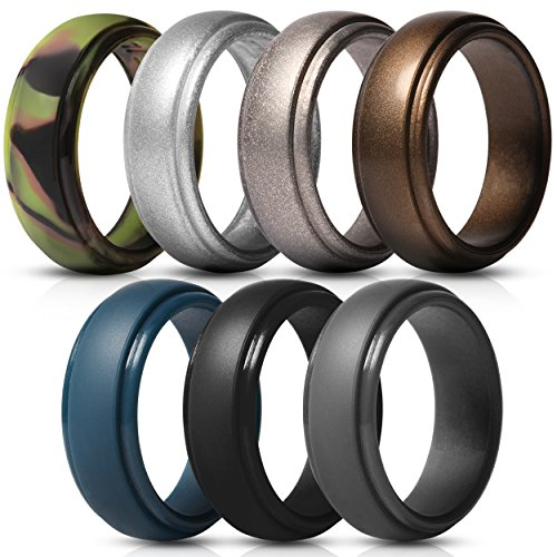 Saco Band Silicone Rings for Men - 7 Pack & Singles Rubber Wedding Bands -