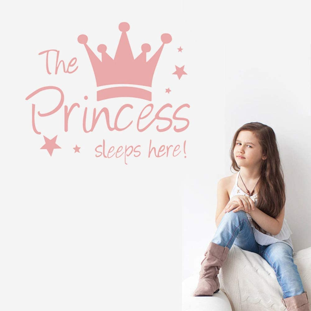 The Princess Sleep Here Crown Stars DIY Removable Peel and Stick Wall Decals with Quote Wall Stickers Decor for Girls Kids Bedroom Nursery Birthday Party Favor