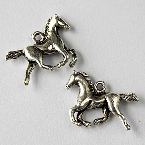 Horse Charm Jewelry - Cherry Blossom Beads 17x22mm Horse Charm - 10 per bag