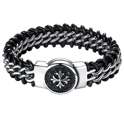 Stainless Leather Fleur Bracelet ccb012 product image