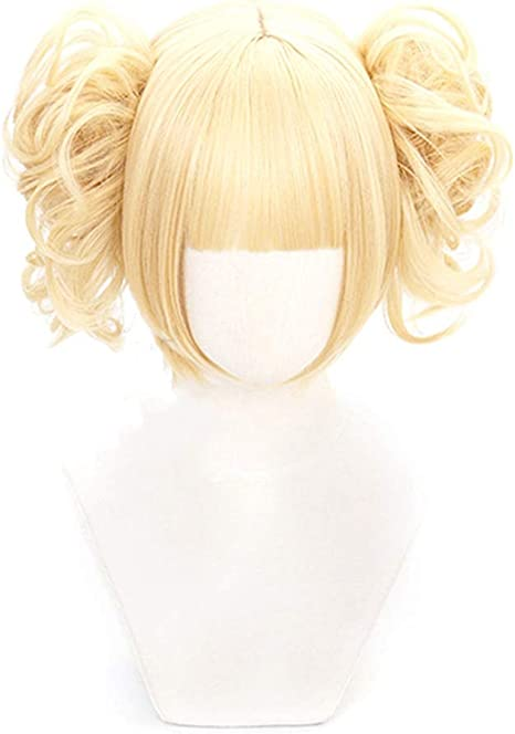 Keersi My Hero Academia Himiko Toga Anime Cosplay Wig Blonde Ponytail with Bangs Synthetic Hair with Free Wig Cap Women Lady Girl Yellow