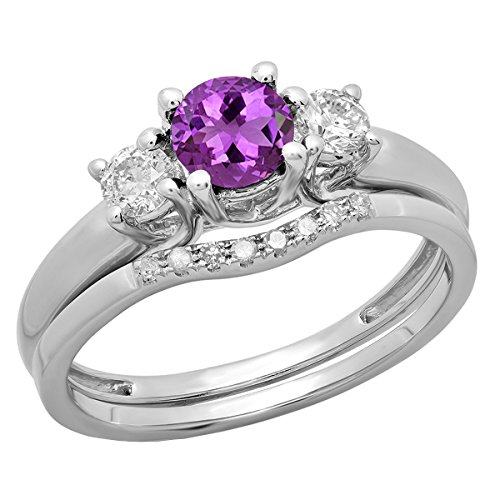 - Dazzlingrock Collection 14K 5 MM Round Amethyst & Diamond Bridal 3 Stone Engagement Ring Set, White Gold, Size 7.5