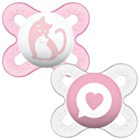 MAM Start SooTher Suitable 0-2 Months with Sterilisable Travel Case - Pack of 2, Pink