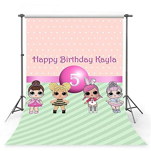 Price comparison product image Photography Backdrop Princess Birthday Party Tabletop Hot Pink Banner LOL Dolls Girls Backgrounds Baby Shower Custom Years and Name
