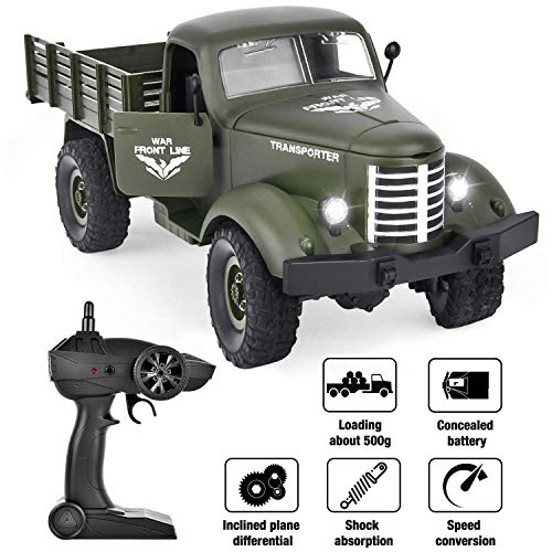 (Rainbrace Remote Control Truck Army Toys for Boys, Kids 1/16 RC Military Truck 4wd, Remote Control Car Electric Off Road Military RC Trucks Vehicle Rechargeable Batteries Great Gift)