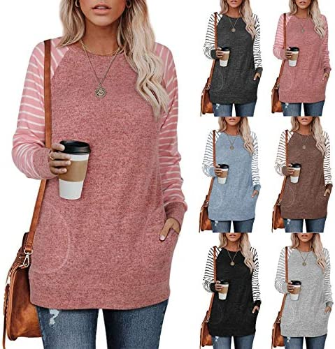 AOKASII Womens Tops and Blouses, Women's Long Sleeve Casual T Shirts Blouses Pocket Sweatshirts Tunic Tops