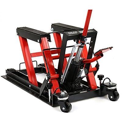 ZENY Hydraulic Motorcycle ATV Lift Jack Stand W/Wheels Foot Operated 1500LB Capacity