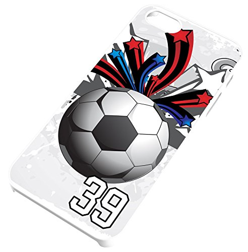 (Soccer Ball Red White and Blue Clear Rubber Cell Phone Case Fits iPhone 5c Player Jersey Number 39)