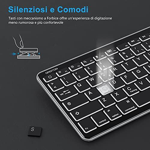 OMOTON Tastiera Bluetooth Compatibile con iPad ed iPhone, Tastiera Mini Portatile con Retroilluminazione, Ricaricabile e Retroilluminata, Luce Regolabile, Nera