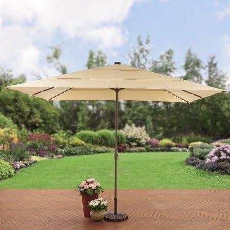 Mejores hogares y jardines. Paraguas de aluminio para patio con luz solar: Amazon.es: Jardín