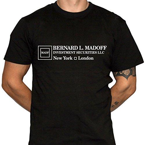 Bernie Madoff Shirt Mens Black Cotton Tshirt Corporate Humor (X-Large)