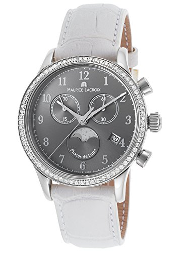 Maurice Lacroix Lc1087-Sd501-820 Women's Les Classiques Diamond Chrono White Gen. Leather Grey Dial Ss Watch