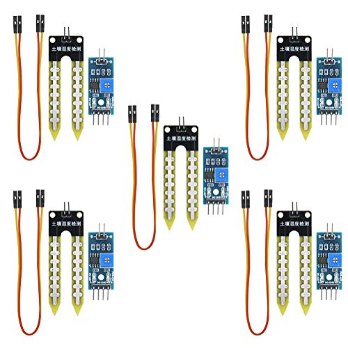 KeeYees 5 Pcs High Sensitivity Soil Moisture Sensor Module with Female to Female Jump Wires, Sensor Module Watering System Manager for Arduino TE215