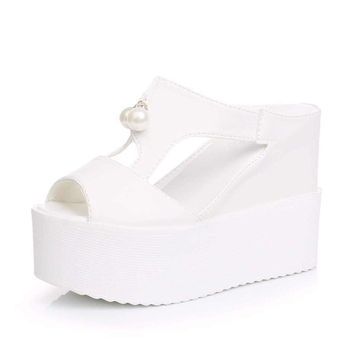 GTVERNH Damenschuhe/Mode/Sommer - Piste Sandaleen Muffin - Fisch Im Mund Kalt Ziehen Modische Außerhalb mit Perlen mit Einem Mädchen Weiße Weißlich - Produkte