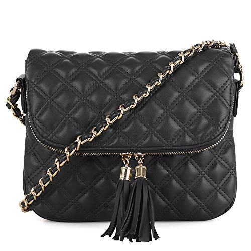 Quilted Pattern Lightweight Medium Fold Over Crossbody Bag with chain strap   Black (Quilted Bag Patterns)