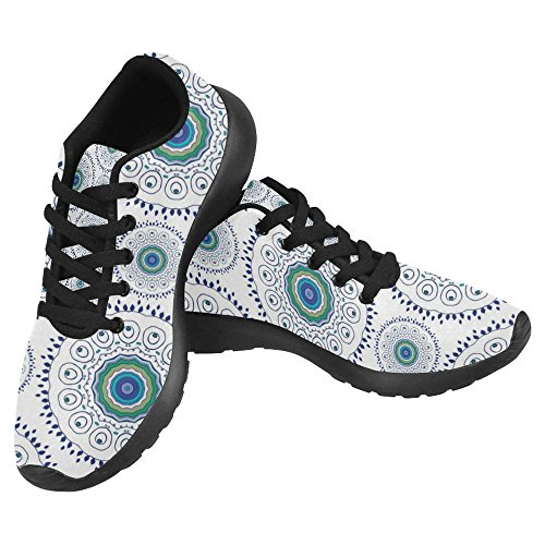 InterestPrint Womens Jogging Running Sneaker Lightweight Go Easy Walking Casual Comfort Running Shoes Beautiful Mandala Pattern With Feather Peacock Multi 1 oSqHBjD