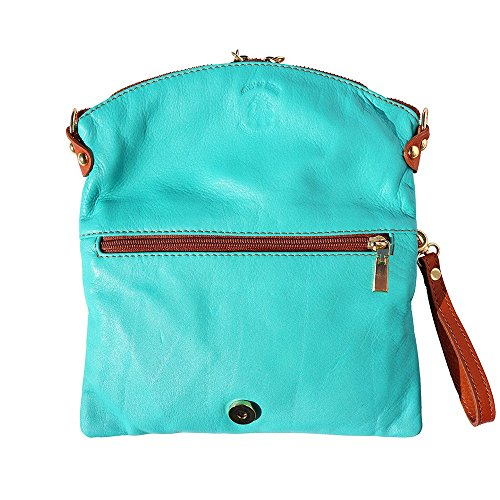 Market Florence In 9602 Pelle Pochette Turchese Leather cuoio Oqq6R