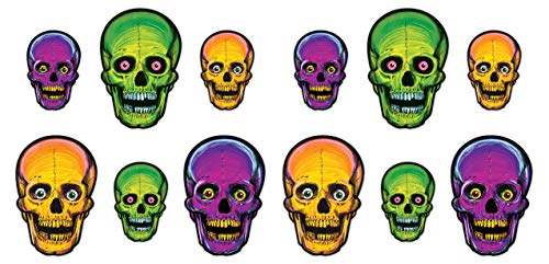 Beistle 01456 Vintage Halloween Nite-Glo Skull Cutouts, 12