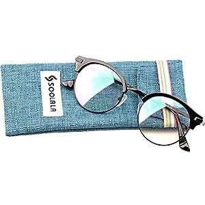 SOOLALA Retro Stylish Round Semi-rimless Magnifying Reading Glass Cateye Eyeglass, Bronze