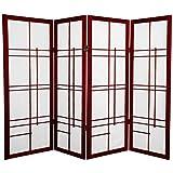 Oriental Furniture 4 ft. Tall Eudes Shoji Screen - Rosewood - 4 Panels