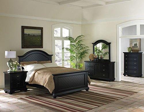 Cambridge 98101A5F1-BK Hyde Park 5 Piece Suite: Full Bed, Dresser, Mirror, Chest, Nightstand Furniture Bedroom Set, Black
