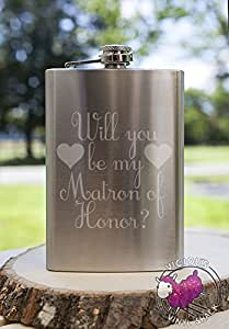 Will You Be My Matron of Honor Hearts 8oz Etched Metal Flask Love Forever Birds Always Relationships Wedding Bridal Flower Girl Engaged Propose Maid Matron Married Sister Brides Maid Bridesmaid