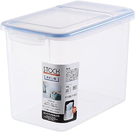 BESTonZON - Cajas de almacenamiento de plástico para cereales con tapa hermética, impermeable, transparente, tamaño L 34,5 x 22,2 x 26: Amazon.es: Hogar
