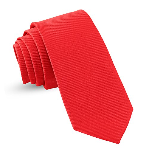 Handmade Red Ties For Men Skinny Woven Slim Tie Mens Tie : Thin Necktie, Solid Color Neckties 3