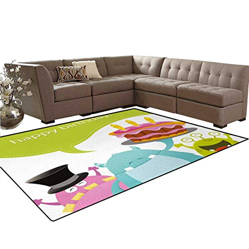 Birthday,Carpet,Pretty Funny Smiling Monsters Saying Happy Birthday Yummy Cake Kids Themed Print,Living Dinning Room and Bedroom Rugs,Multicolor,5'x7'