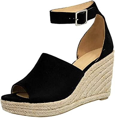SSYUNO Womens Platform Sandals Espadrille Wedge Ankle Strap Peep Toe Sandals Summer Comfy Sandal High Heel Roman Shoe