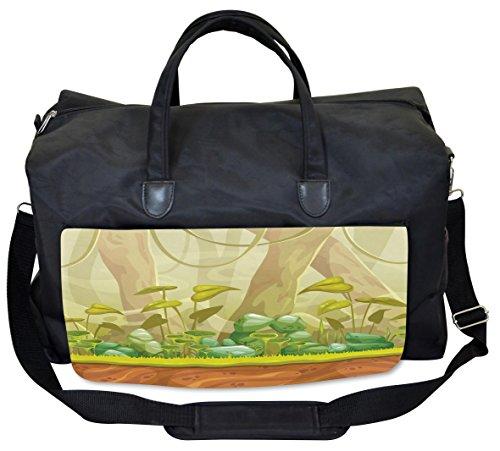 Eco Weekender - Lunarable Forest Gym Bag, Woodland Foliage Plants Eco, Large Weekender Carry-on