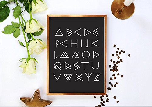 Aztec Alphabet Poster, Typography Poster, Caligraphy Prints, Aztec Print, Aztec Wall Art, Home Decor,