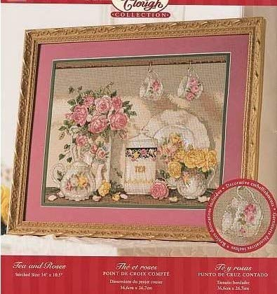 Zamtac Top Quality Lovely Counted Cross Stitch Kit Rose Bouquet and Teapot Teacup Porcelain - (Cross Stitch Fabric CT Number: 16CT unprint Canvas)