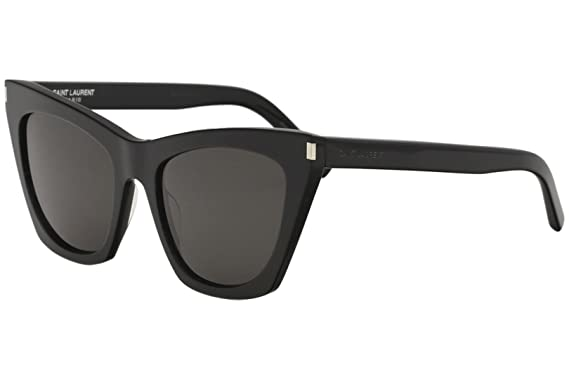 a33293bf5e7 Image Unavailable. Image not available for. Color  Saint Laurent SL214 001  Black Kate Cats Eyes Sunglasses ...