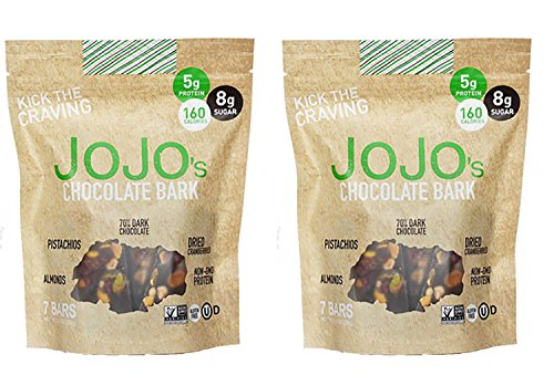 JOJOs Guilt Free Dark Chocolate Bark With All Natural Protein Raw Nuts and Fruit, NON-GMO, Gluten Free, Paleo Friendly, 1.2 Ounce Bars, 14 Count(Two Week Supply- 16 oz)
